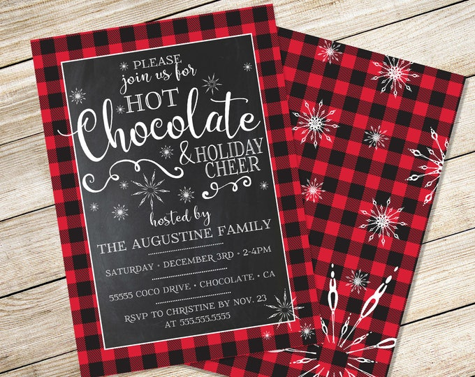 Hot Chocolate Party Invitation - Hot Coco Bar Party, Holiday Party, Winter, Shower, Wedding, Office Party - Instant Download PDF Printable