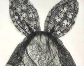 Ariana Grande wearing my black lace veil bunny ears headband, UK