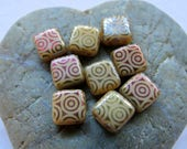NEW FANCY IVORY Tiles . Czech Etched Glass Beads . 6 mm  (25 beads)