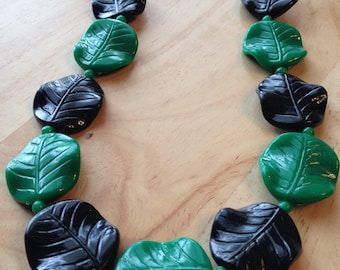Green and Black Leaf Necklace Plastic