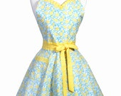 PLUS SIZE Sweetheart Pinup Apron - Aqua Blue and Yellow Floral Retro Womans Vintage Inspired Flirty Kitchen Apron (DP)