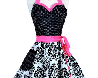 Sweetheart Pinup Womans Apron . Retro Hot Pink and Black Damask with Polka Dot Cute Flirty Sexy Vintage Style Hostess or Wedding Apron (CS)