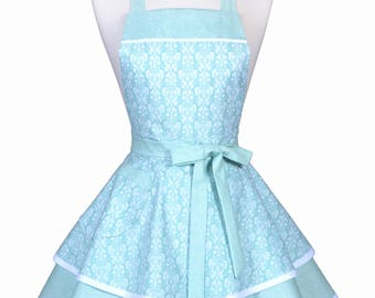 Womens Ruffled Retro Apron - Romantic Aqua Blue White Damask Womans Cute Flirty Pinup Bridal Wedding Apron to Personalize Monogram (DP)