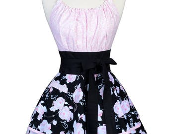 Flirty Chic Retro Apron - Womens Pink Roses with Black Cute Pinup Kitchen Apron with Pocket - Personalized Monogram Option (DP)