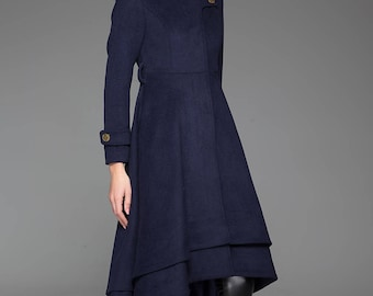Navy blue coat, stand up collar, long coat, womens coats, cute coats, asymmetrical coat, coat dress, classic coat, zipper coat (1423)