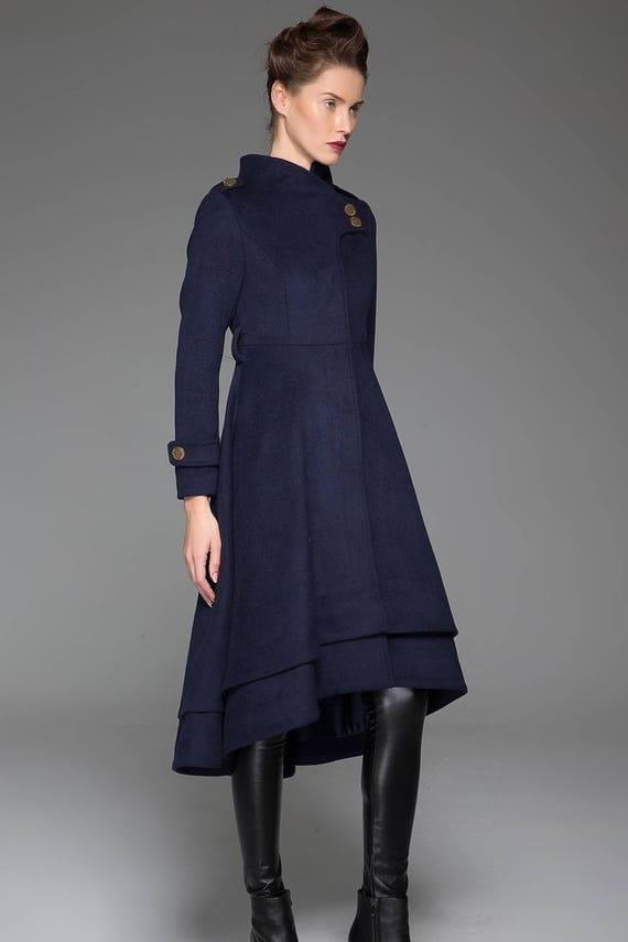 Navy blue coat stand up collar long coat womens coats cute