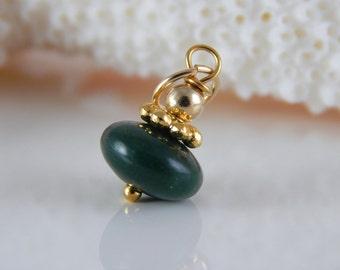 Green Stone Dangle ~ add a dangle ~ add a charm ~ Fancy Jasper Charm - AdoniaJewelry