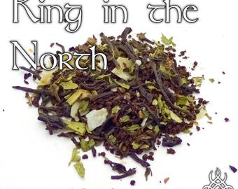 Game of Thrones Tea, King in the North, Jon Snow, Jon Stark, loose leaf black tea, mint coconut tea, Game of Thrones gift, fandom tea