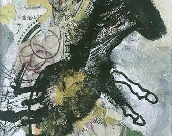 black horse mixed media lotus yellow abstract animal art horse portrait OOAK