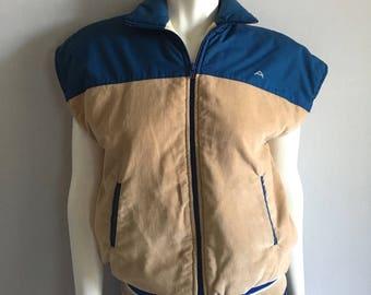 Vintage Men's 80's Sleeveless Jacket, Tan, Blue, Corduroy (S)
