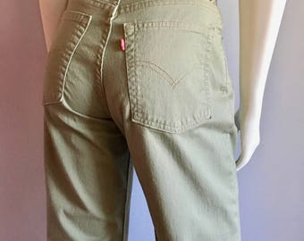Vintage Women's 90's Levi's 550, Pants, High Waisted, Tapered Leg, Moss Green (M)
