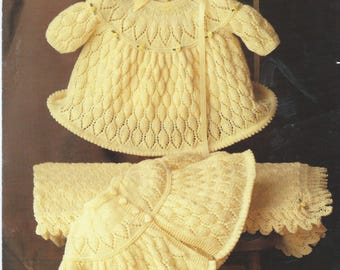 Vintage Baby Clothes Knitting Pattern, Vintage Matinee Coat,shawl  and Dress Pattern pdf instant download