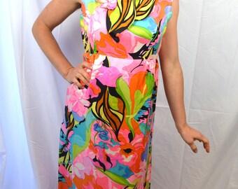 Vintage 60s 70s Silk Rainbow Floral Maxi Dress