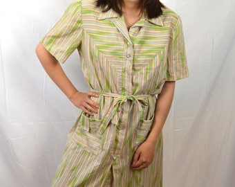 Vintage 60s 1960s Shirtdress Nancy Frock Striped Day Dress