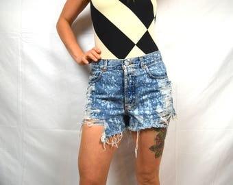 Vintage 1980s Distressed CK Calvin Klein Acid Wash High Waisted Denim Distressed Thrashed Cut Off Shorts