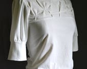 Folded Top, Women's Top, Cotton Jersey, folded detail, puff sleeves, modern chic- made to order, one of a kind