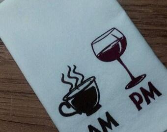 AM coffee, PM wine Embroidered White Kitchen tea towel