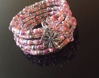 Pink Gray Grey Iridescent Seed Crystal Adjustable Bracelet