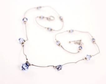 Blue Gray Crystal Float Necklace, Sapphire Swarovksi, Silk Cord