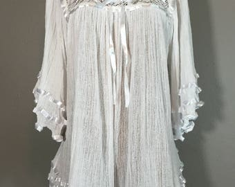 Vintage 70's White Gauze Angel Sleeve Boho Peasant Top Crochet Ruffled