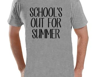 Teacher Shirts - School's Out For Summer - Teacher Gift - Teacher Appreciation Gift - End of School Year Shirt - Men's Grey T-shirt