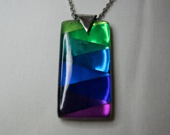 Green, Blue, and Purple resin necklace - recycled cans