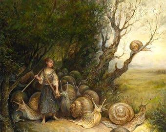Snail Shepherdess (print) - mollusks, girl, fairy tale, childrens book, magical, artwork, home decor