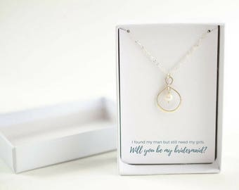Bridesmaid Gift Idea - Bridesmaid Proposal - Will You Be My Bridesmaid Gift - Sterling Silver Infinity Necklace - Bridesmaid Jewelry
