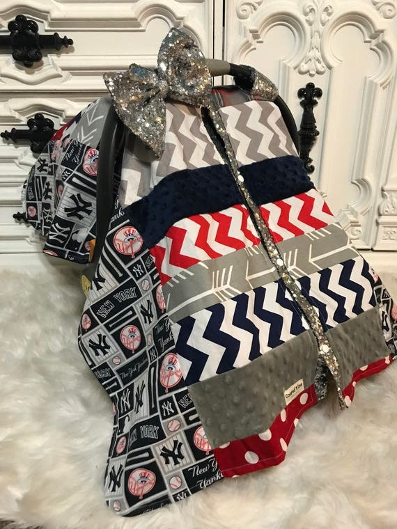 Ready to ship , NY Yankees custom car seat canopy , Broncos , Denver Broncos , bling bow , sparkle