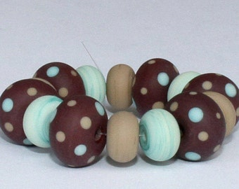"""Handmade Lampwork Beads, 14 Pieces """"Matte Chocolate Brown, Khaki and Mint Green"""", Size about 8.0 to 11.8 mm"""