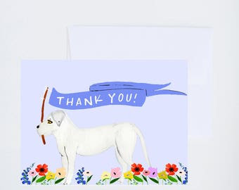 General / Friendship Greetings - Thank You - White Dog with Banner - Painted & Hand Lettered Cards - A-2