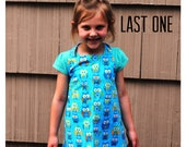 Apron Child or Toddler Owl Boy Girl Blue Turquoise