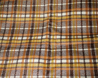 vintage brown plaid fabric  2 yards yardage
