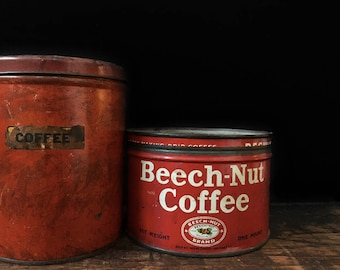 Antique Coffee Tins, Coffee Tin Collection, Beech Nut, Shortening Tin, Tea Tin, Rustic Kitchen, Red, Primitive Decor, Instant Collection