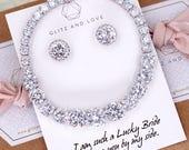 Wedding Bridesmaid Gift Bridal Earrings Necklace Bracelet Jewelry Set Clear White Cubic Zirconia Teardrop Ear Stud Earrings E315 B91