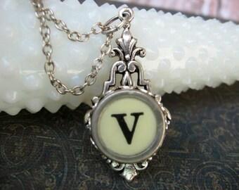 Typewriter Key Jewelry - Typewriter Necklace - Letter V - Typewriter Charm - Vintage Key