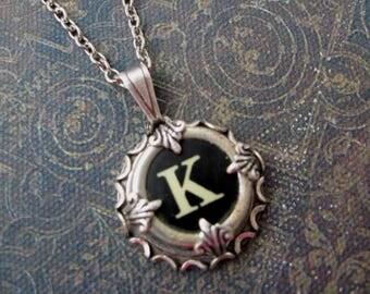 Typewriter Key Jewelry - Typewriter Charm - Letter K