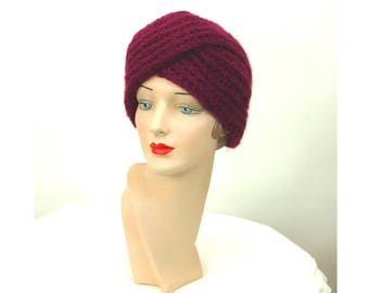 1940s turban hat knit purple wool and mohair winter hat Made in Italy