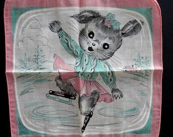 CHILD'S Printed Cotton Hanky Hankie Handkerchief Ice Skating Bunny