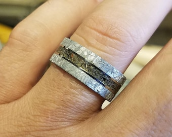 9mm Dinosaur Bone and Gibeon Meteorite Ring Custom Made Meteorite Wedding Band