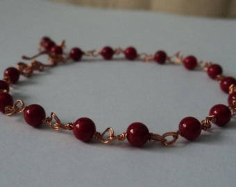OOAK Red Coral Adjustable Bracelet Double Wire-Wrapped