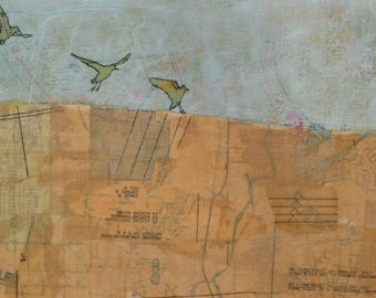 Original Mixed-Media Beeswax Encaustic Bird Painting by Janet Nechama Miller - To Land Slowly and Carefully
