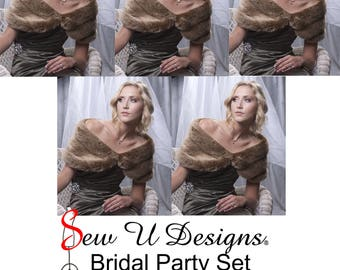 "Bridal Party set of FIVE custom woman's 8"" wide faux fur wraps created in frosted light brown grooved faux fur"