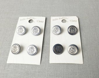 """8 Metal Embossed Shield Buttons 5/8"""" (15 mm)"""