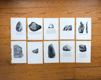 10x c. 1934 METEORIC STONE LITHOGRAPHS -  original vintage prints - science astronomy prints of a celestial object - meteoric iron