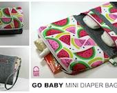GO BABY Mini Diaper Bag - PDF Sewing Pattern - Foldover zipper pocket - Tri-fold Crossbody - Wristlet - Diaper Nappy Clutch Organizer