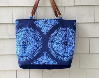 Medallion tote, navy tote, blue tote, large tote, commuter tote, beach tote, summer tote, leather handles, baby bag, one of a kind