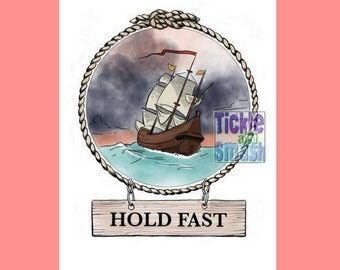 Maritime Greeting card - Hold Fast! Illustrated Snail Mail Blank Cards, Pirate Cards, Sailing Cards, Boat Cards