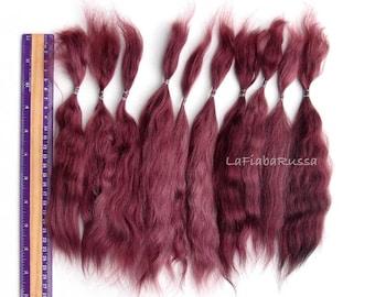 Mohair Doll Hair Combed locks burgundy long 9-10 in angora goat/ reroot/ Reborn/ blythe/ bjd, abjd/ weft making/ la fiaba russa