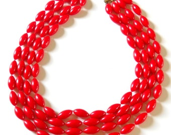 Mid Century Multi Strand Necklace • Vintage Red Plastic Bead Necklace